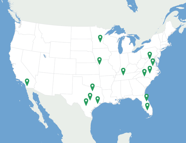 Map of LawnStarter's national service area