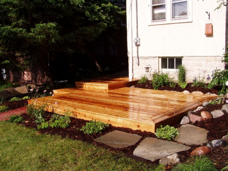 side yard with deck
