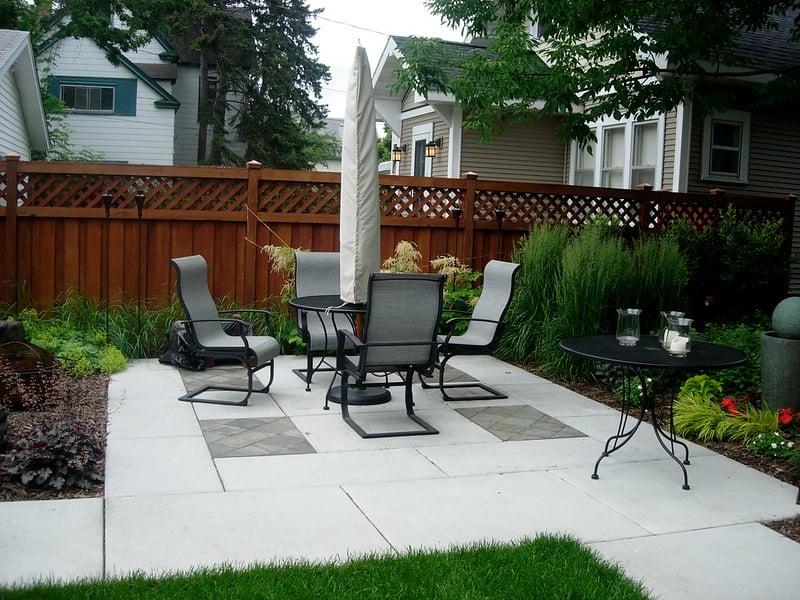 Patio furniture on a concrete patio